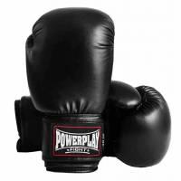 Перчатки для бокса Powerplay Рукавиці боксерські чорні (натуральна шкіра)